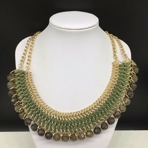 Chico's Green Leather & Acrylic Beaded Necklace